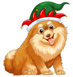 Cute dog wearing jester hat vector