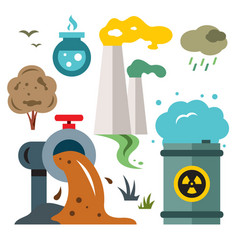 Environment pollution ecology flat style vector