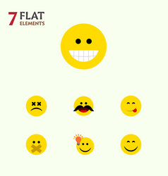 Flat icon face set of smile have an good opinion vector