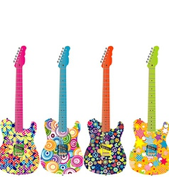 Flower power electric guitars vector