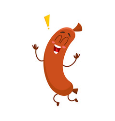 Funny sausage character with human face running vector