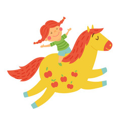 girl horse vector image vector image