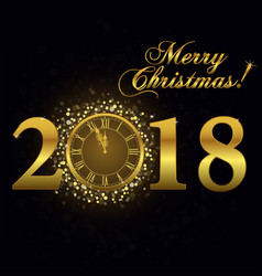 gold clock happy new year vector image vector image