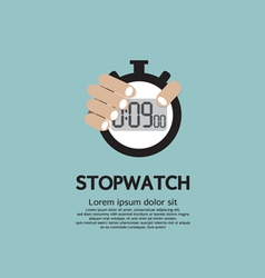 Hand holding a stopwatch vector