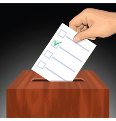 Hand putting voting paper with approved checkmark vector