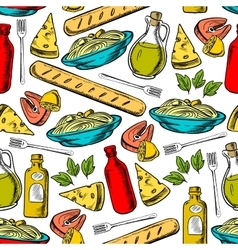 Italian cuisine lunch seamless pattern vector image