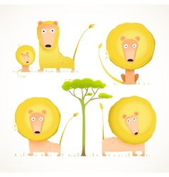 Lion family collection cartoon mom dad and kid vector