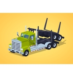 Low poly folded log truck vector
