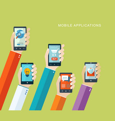 Mobile applications flat concept vector