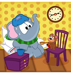 Mouse heals sick elephant vector