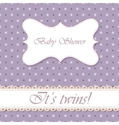 Polka dot baby shower twins vintage vector
