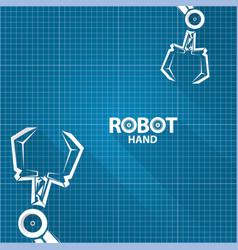 robotic arm symbol on blueprint paper vector image