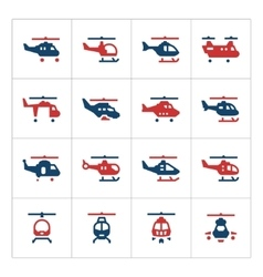 Set color icons of helicopters vector image