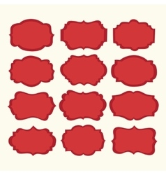 set red vintage labels and frames vector image vector image