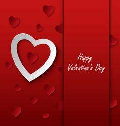 Valentines card with red hearts on background vector image vector image