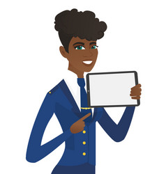 Young african stewardess holding tablet computer vector