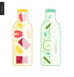 Two bottles of detox water vector