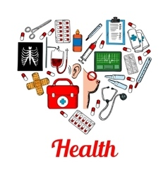 Medical symbols poster in heart shape vector