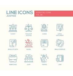 Justice - line design icons set vector image
