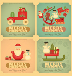Merry christmas and happy new year cards vector