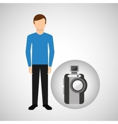 Character man movie concept compact camera vector