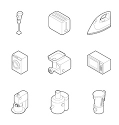 Kitchen electronic appliances icons set vector