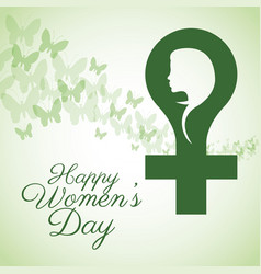 happy womens day card gender butterfly vector image
