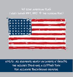 48 star american flag flat - artistic brush vector