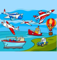 transportation vehicles cartoon vector image