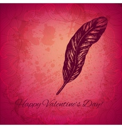 Artistic valentine background with ink style hand vector