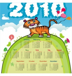 2010 calendar with cute tiger vector image vector image