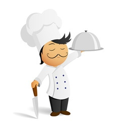 Cartoon chef in white hat with knife and dish vector