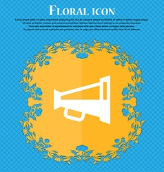 Megaphone soon loudspeaker floral flat design on vector