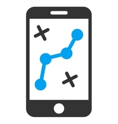 Mobile route map icon vector