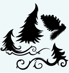 Set christmas trees and pine cone vector