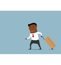 Businessman with suitcase going on voyage vector