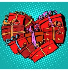 Box gift heart shaped valentines day vector
