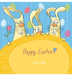 Easter card with bunnies vector