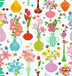 Spring seamless texture with modern variety vases vector