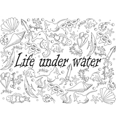 Life under water coloring book vector