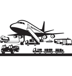 Airport support vehicles vector image