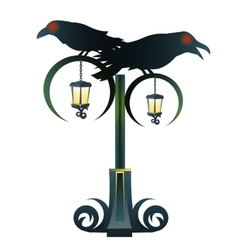 Street gothic lantern with two black raven vector