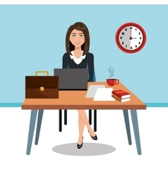business woman in workspace isolated icon design vector image