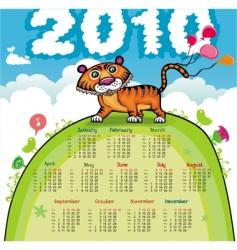 2010 calendar with cute tiger vector image