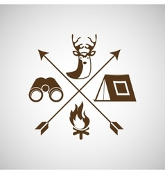 Deer camp camping fire binoculars vector