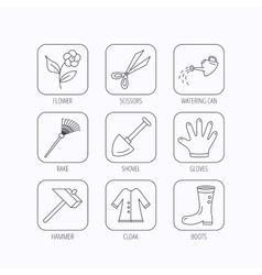 Scissors hammer and gloves icons shovel signs vector