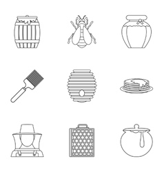 Beekeeping farm icons set outline style vector