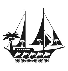 black and white sea travel concept with ship vector image