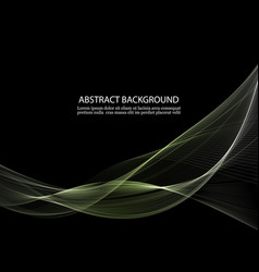 Black background with transparent green waves vector