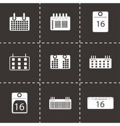 Black calendar icons set vector
